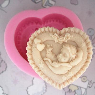 9*8,5*3,5 см в форме сердца Спящий ребенок шаблон Силиконовые формы торта/мыло ручной работы/глиняные формы для шоколада
