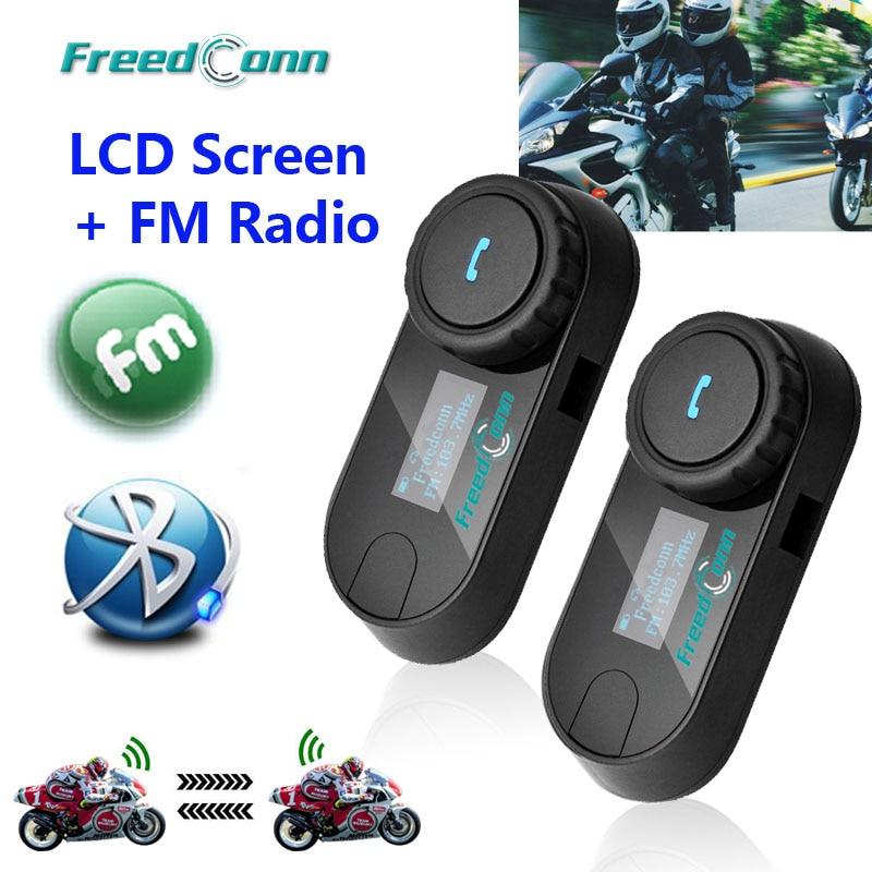 Original FreedConn Updated TCOM-SC BT Bluetooth Motorcycle Helmet Intercom Interphone Headset with LCD screen + FM Radio