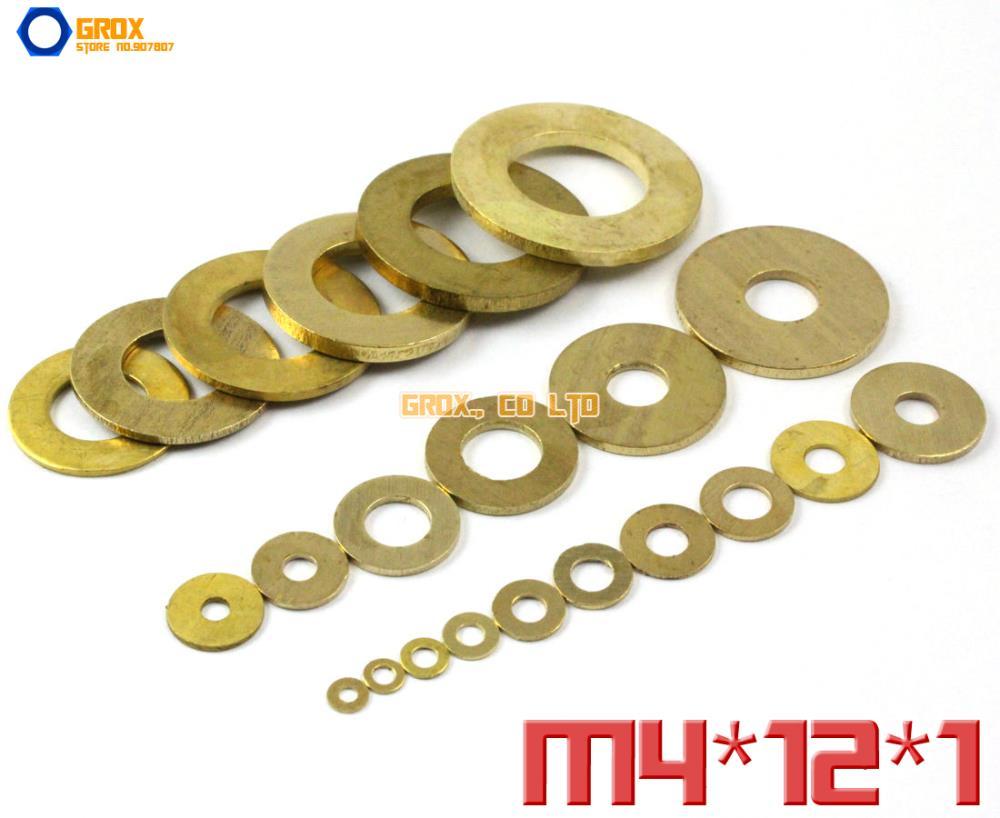 100 peças de bronze M4 x 12 x 1 mm arruela