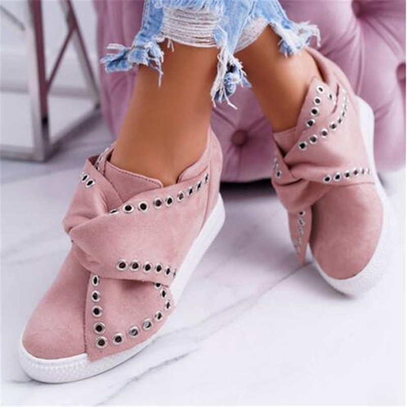 Casual Flat Plus Size Women Sneakers Ladies Suede Bow Tie Slip On Vulcanized Shoes Female Increase in Flats Footwear women slipper gold embroidered animal pattern women flats bow tie decor women shoes cover toe fashion chic suede autumn shoes