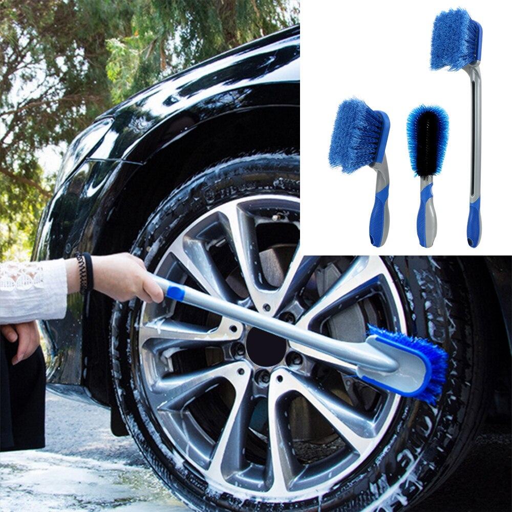 Cepillo de limpieza y lavado de neumáticos de coche herramienta de plumero multifuncional mango largo cepillo de rueda de coche