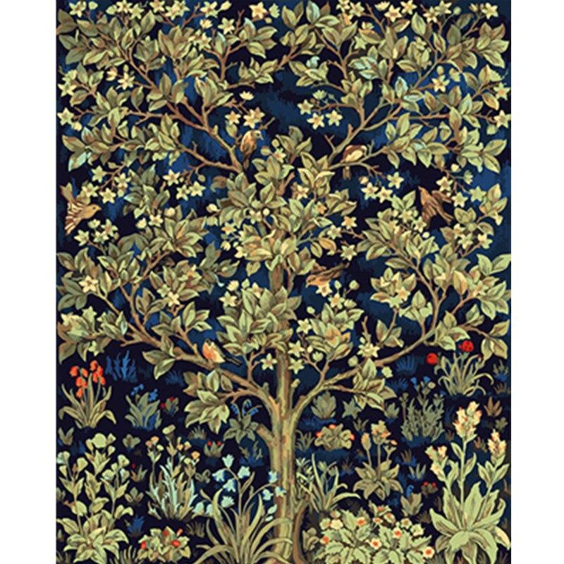 Pintura por números DIY Dropshipping 40x50 50x65cm Happy ush paisaje del árbol lienzo decoración de la boda arte imagen regalo