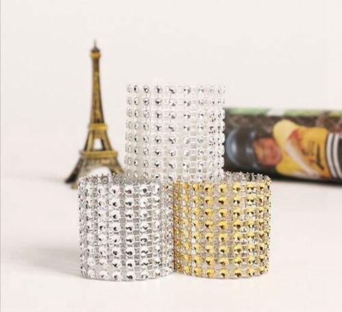 50 Uds 24 colores envoltura de plástico de diamantes de imitación servilletero soporte hebilla Hotel Fiesta boda suministros hogar silla Mesa Decoración