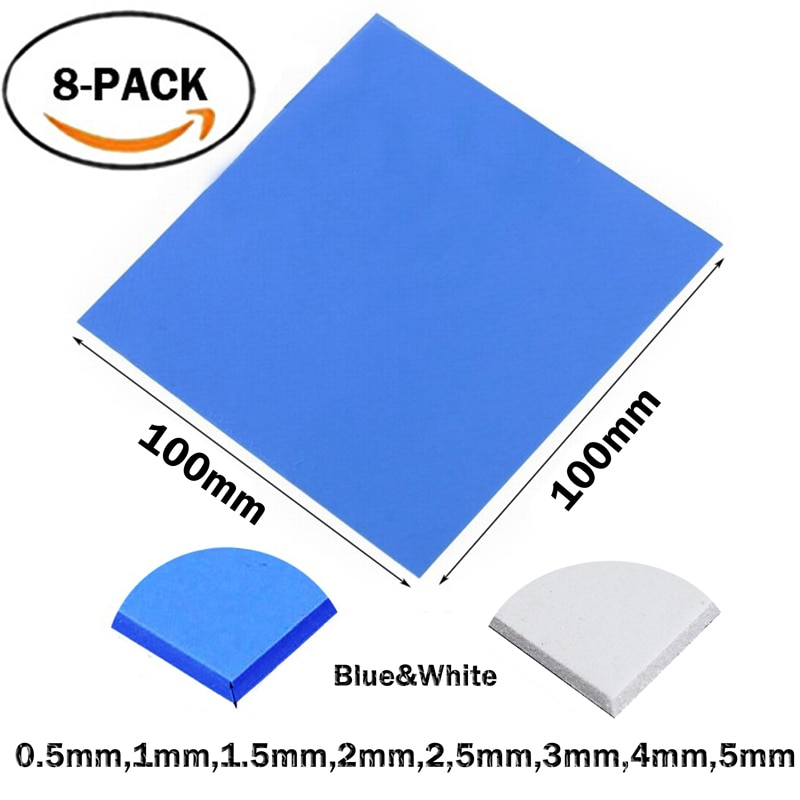8pcs/set 8Size 100x0.5,1,1.5,2,2.5,3,4,5mm Blue White Chip Conductive Silicone Heatsink Thermal Pad