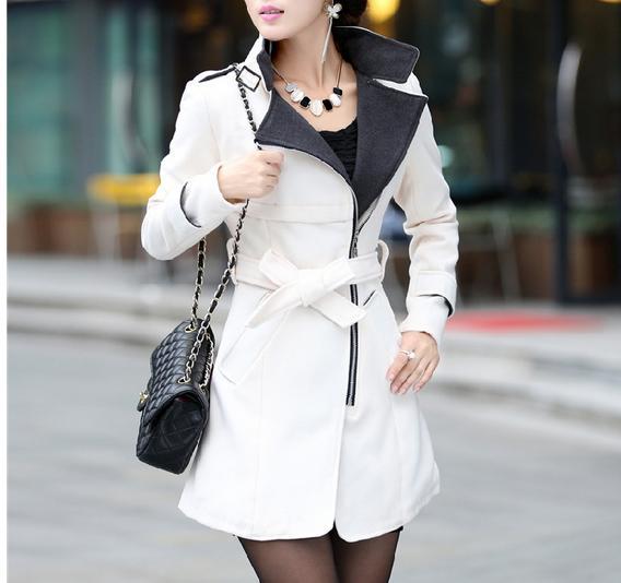 Women's Wool Blends fashion jackets new winter jacket and long sections Slim coat collar oblique zipper women's woolen coats