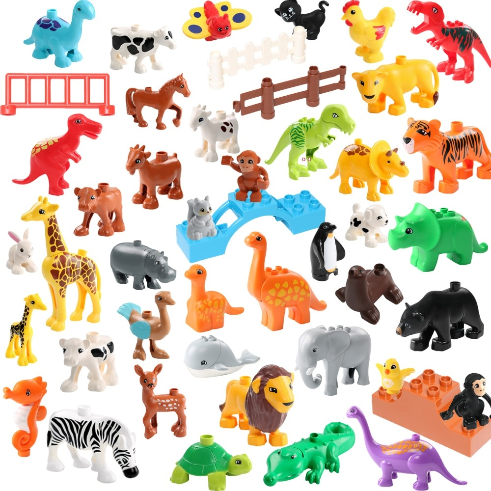 AliExpress - Zoo Animals Figures Building Blocks Big Size Accessories Blocks Educational Animals DIY Brick  Assembly Toys For Children Gift