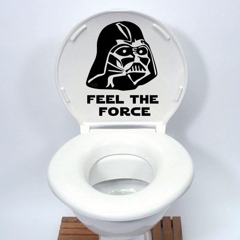 Pegatina para asiento del inodoro de Star Wars, calcomanía de vinilo con dibujos divertidos para decoración del hogar, negro 4WS-0078