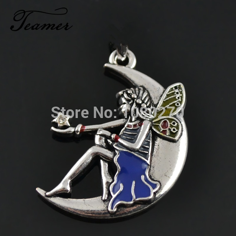 Teamer 5 unids/lote romántico Metal esmaltado de un solo lado Luna Ángel hadas colgante para niñas DIY fabricación de joyería