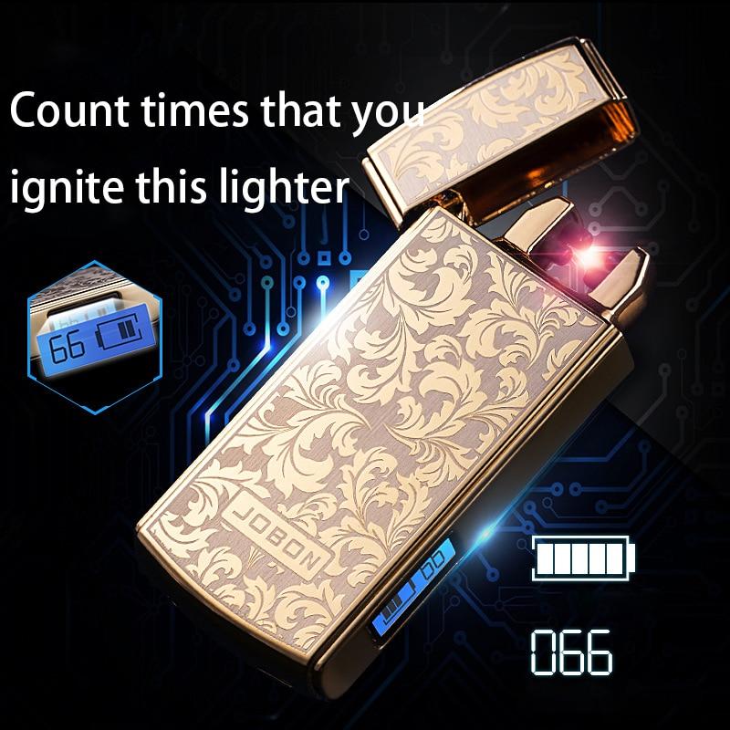 Encendedor USB Shake Ignite de doble arco que puede contar el tiempo de uso Plasma Ligther cigarrillo para fumar logo liberar al láser recarga electrónica