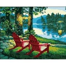 Chaises rouges   Peinture faite à la main de haute qualité, toile belle peinture avec numéros cadeau de Surprise, grand succès