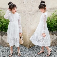 baby girls teens dress summer 2019 children princess party frocks kids lace floral long maxi dress teenager summer white clothes