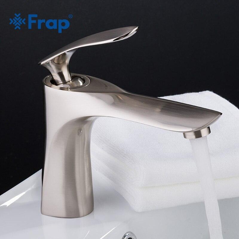 FRAP Basin Faucets Modern Fashion Bathroom Mixer Tap Brushed Washbasin Faucet Single Handle Single Hole Elegant Crane TapsY10056