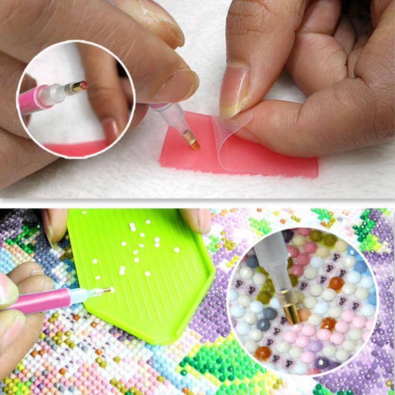 Diamante PaintingTool DIY pintado Diamond 5D diamante Cruz puntada bolígrafo para bordar herramienta mosaico pluma pinzas