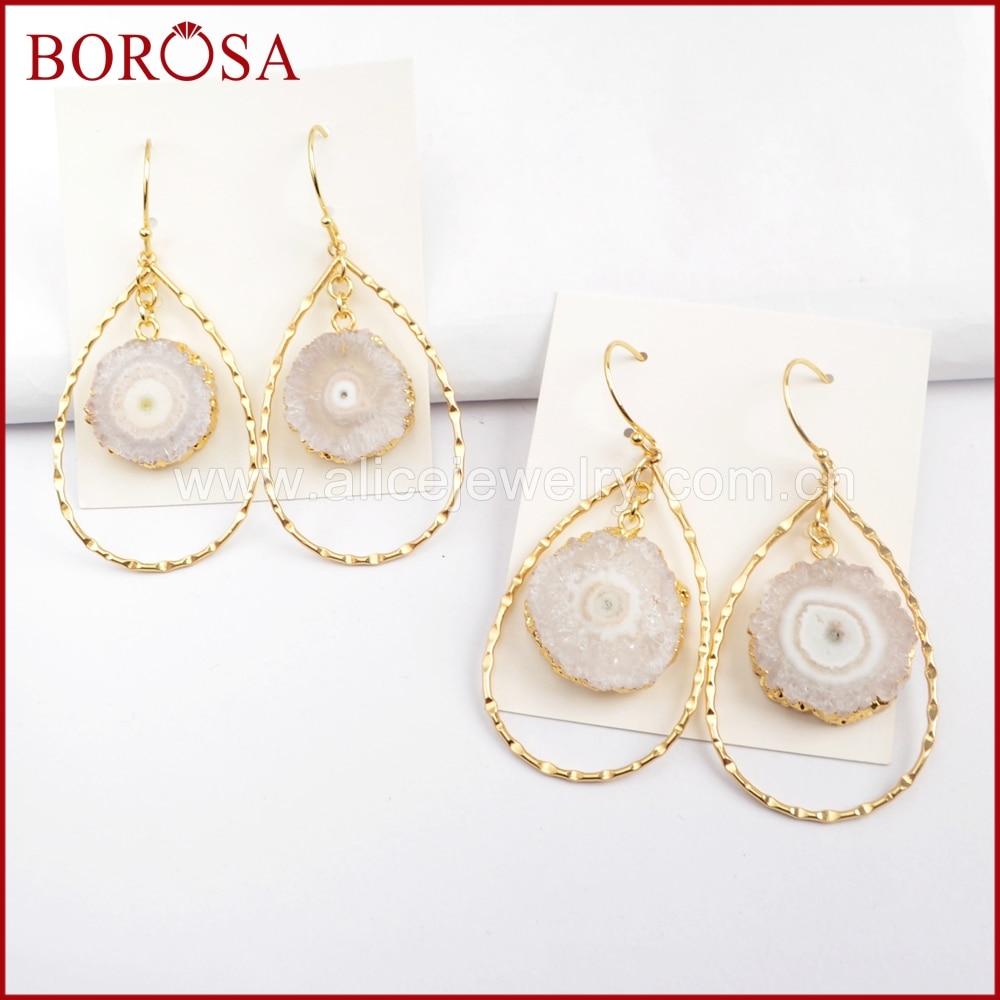 BOROSA New Fashion Gold Color Druzy Jewelry Gig hook with White Solar Quartz Teardrop Earring G1582
