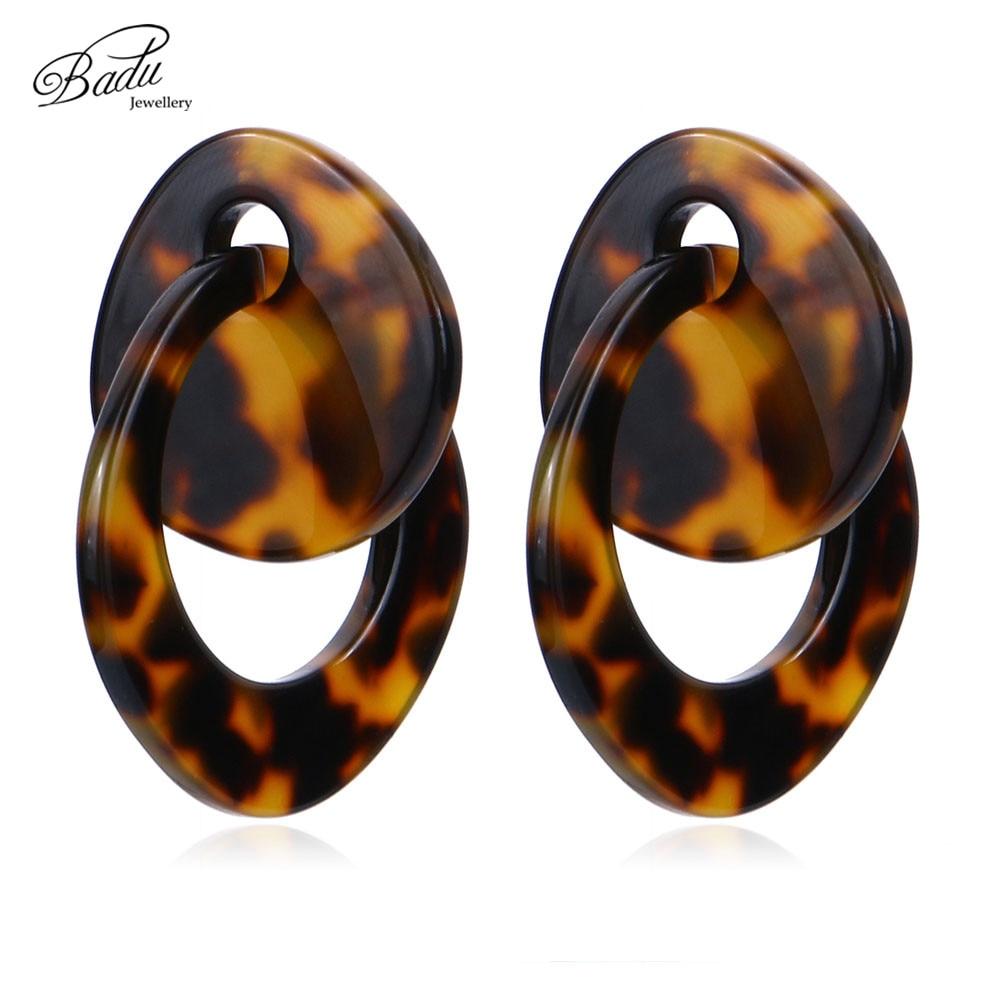 Женские серьги-пусеты Badu, большие акриловые серьги-пусеты леопардовой расцветки уксусная кислота, Винтажные Украшения, оптовая продажа