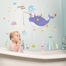 70*90 cm wieloryb naklejki ścienne dla dzieci pokój dna morskiego wystrój domu pod wodą winylu naklejka do dziecięcego pokoju dla dzieci wystrój żłobka