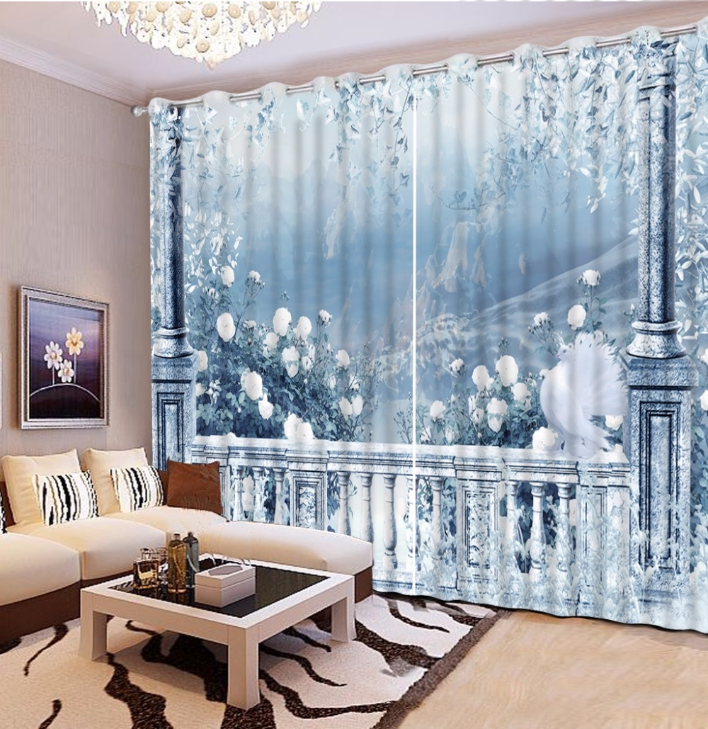 Fashion Customized 3D Curtain Light Blue Roman Column Mountain Landscape White Flowers Curtain Blackout Bathroom Shower Curtain