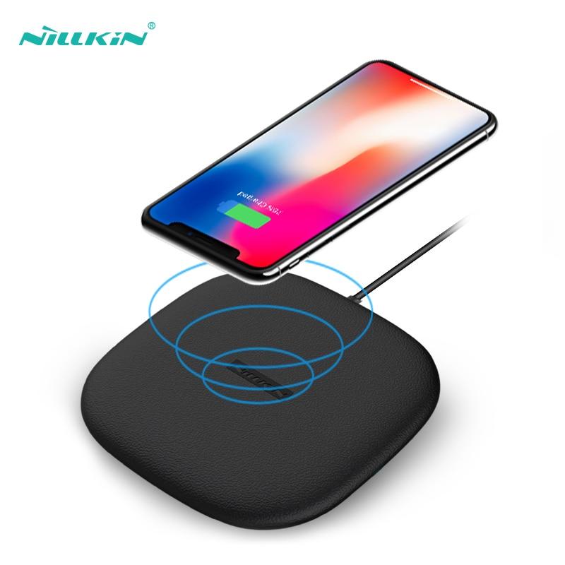 Cargador inalámbrico 10w rápido, Nillkin Qi almohadilla de carga inalámbrica rápida silicona fina para iPhone 11/11 Pro/XS/8/8 Plus para Samsung S10