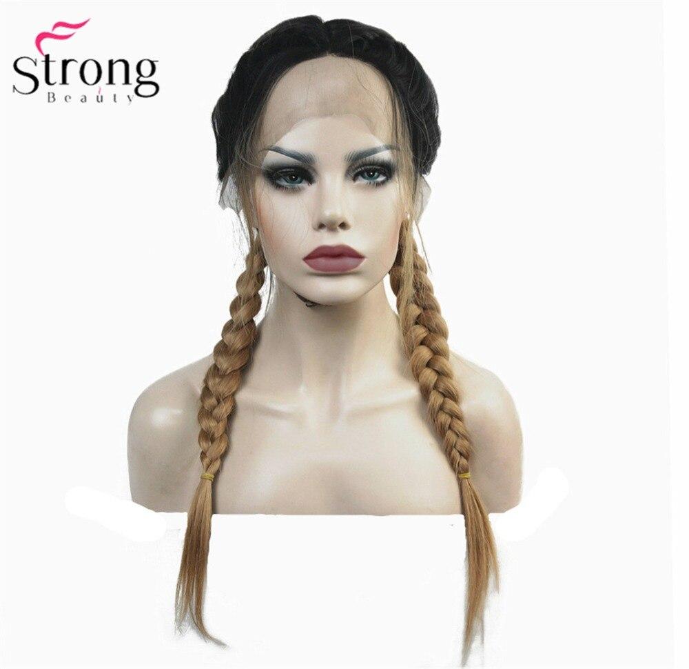 قوي الجمال الاصطناعية الدانتيل شعر مستعار أمامي الضفائر مضفر شعر مستعار الفراولة الأشقر شعر رجالي