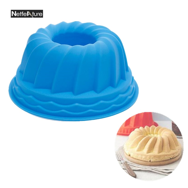 9 pulgadas de tamaño grande espiral forma de molde de pastel de silicona ronda corrugado de gasa esponja molde para tortas, panes Pan para hornear bandeja para hornear y Pan