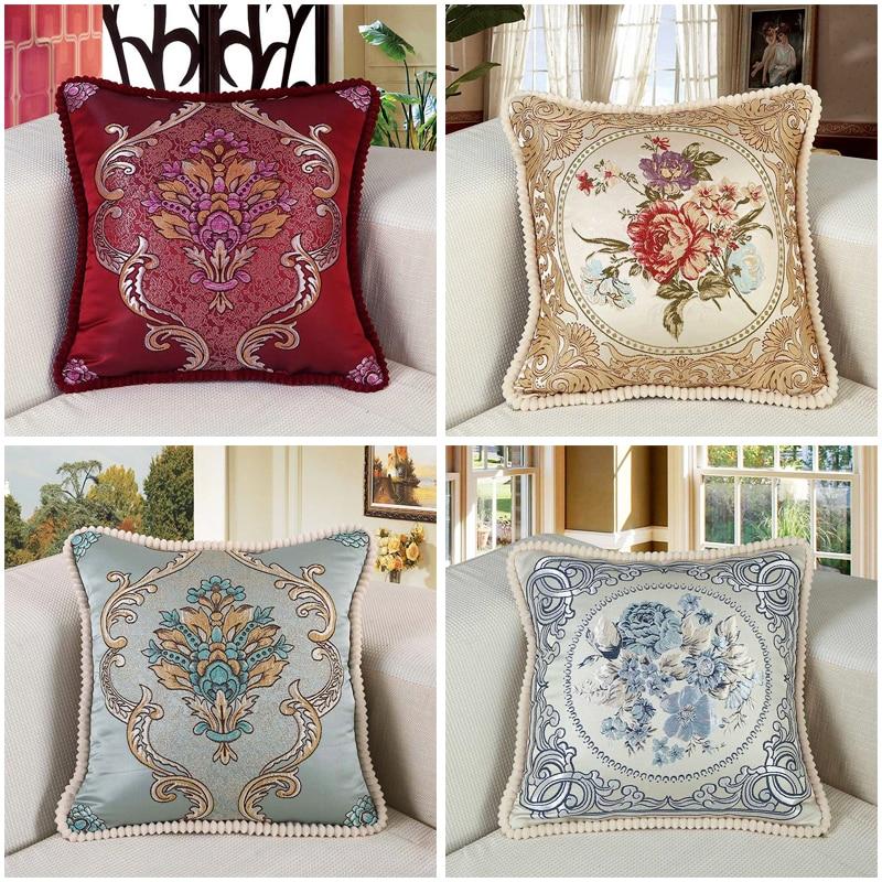 Funda de almohada de estilo europeo sofá Cojín cuadrado funda de almohada con soporte bordado floral de la cintura respaldo almohada de coche funda de almohada
