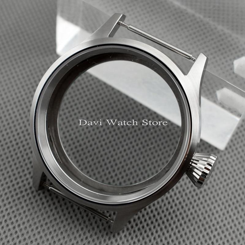 Caja de reloj cepillada 43mm compatible con ST36 ETA 6497 6498 movimiento