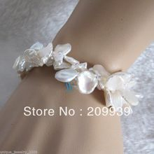 "huij 00238 8"" 9-15mm White Keshi 2Row Freshwater Pearl Bracelet can choose"