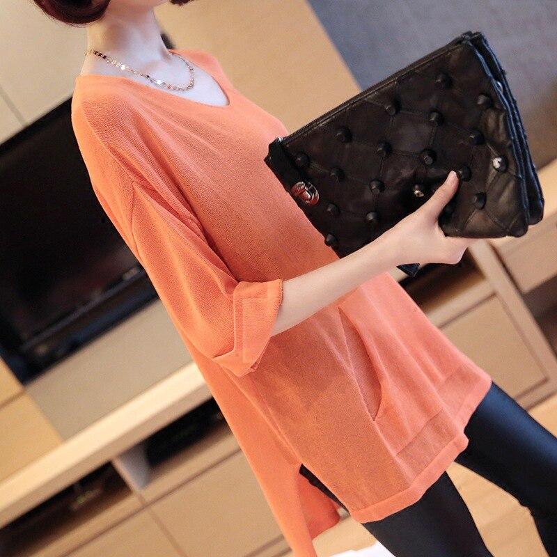 Camiseta para mujer, Camisetas de verano para madre, Camisetas Top, ropa coreana con escote en V, Camisetas finas con pantalla solar holgadas de gran tamaño