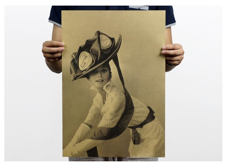 2016 Venta caliente 51cm x 35,5 cm Audrey Hepburn Vintage etapa foto Posters Retro Matt Kraft de papel elegante Audrey Hepburn pegatinas de pared