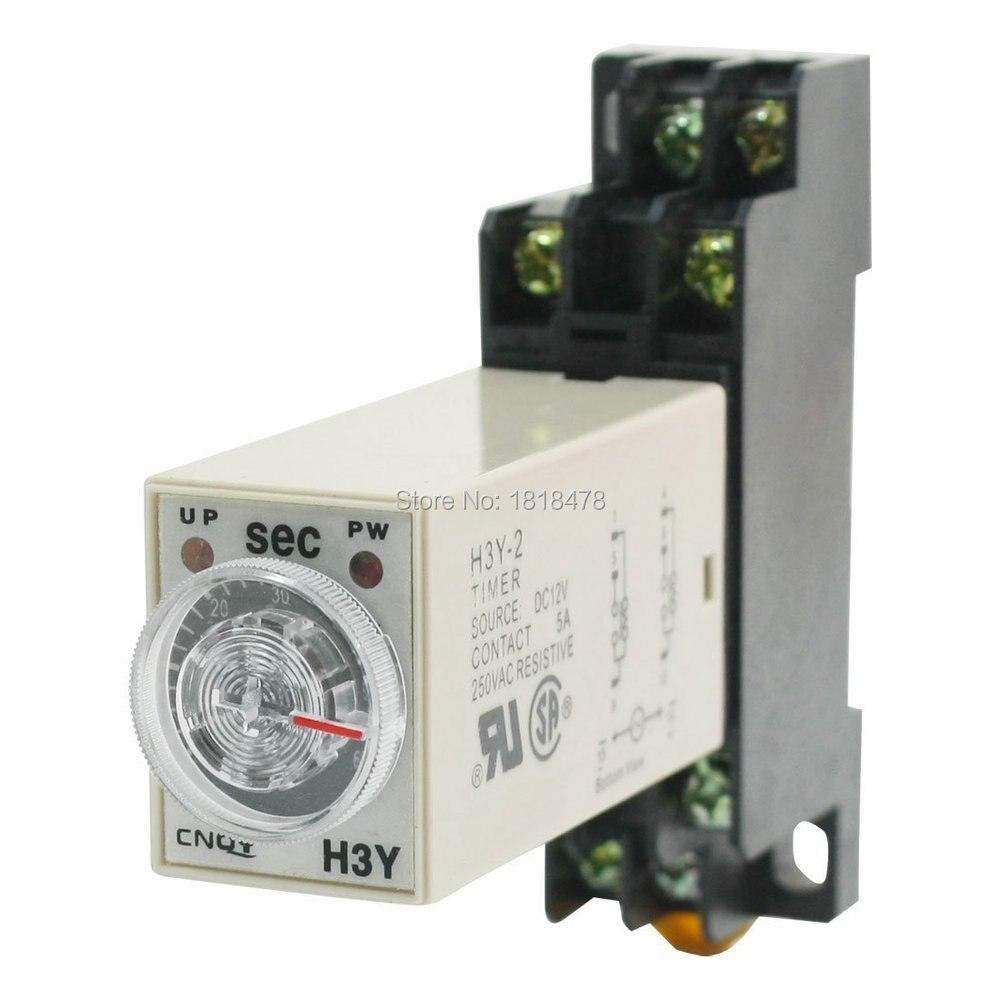 Relé de retardo de tiempo temporizador de estado sólido 0-60S DPDT w enchufe H3Y-2 AC12V 0-60S