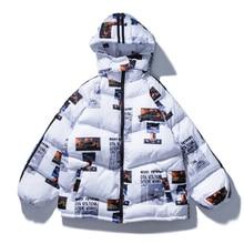 April MOMO 2020 남성 레터 프린트 후드 파커 재킷 여성 겨울 따뜻한 코튼 파카 힙합 자켓 코트 하라주쿠 Streetwear