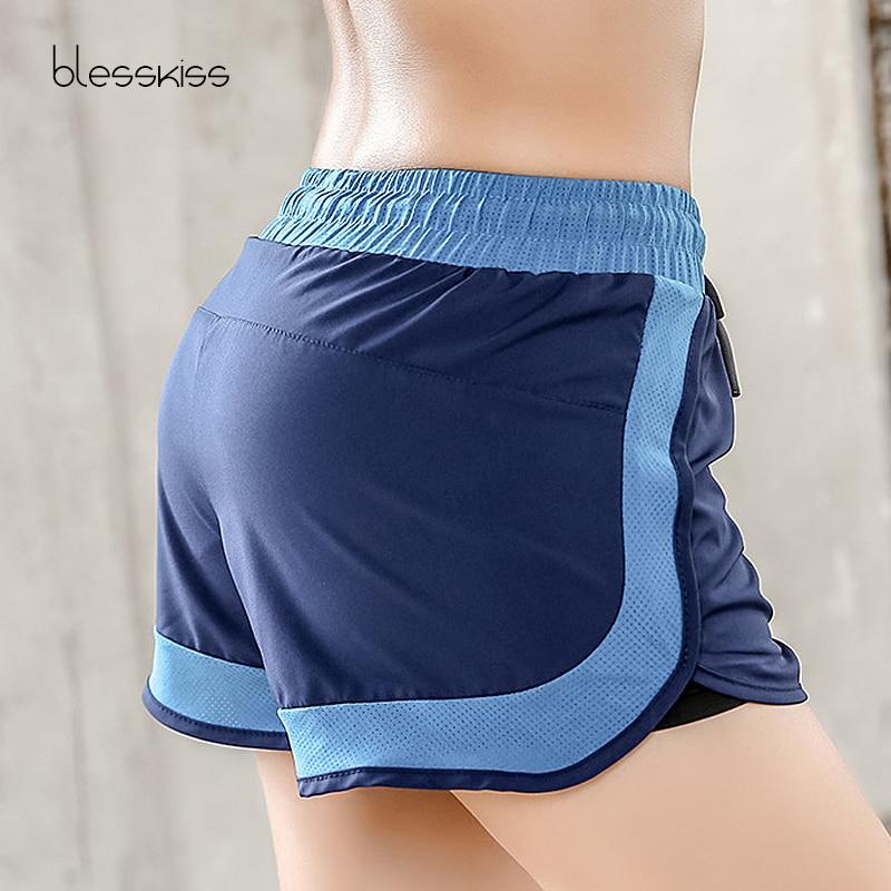 BLESSKISS doble capa damas pantalones cortos ajustable Juul Yoga pantalones cortos de Deporte Fitness para mujeres de secado rápido gimnasio cortos de entrenamiento