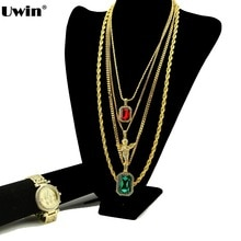 Hip Hop pendentif collier montre ensemble priant volant chérubin pendentif chaîne cubaine petite pierre rouge vert noir bleu gemme corde chaîne