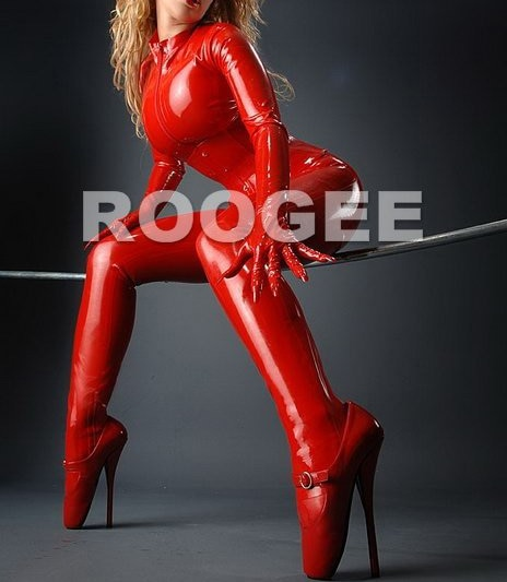 latex catsuit suit w/ socks/gloves with front zipper to ass
