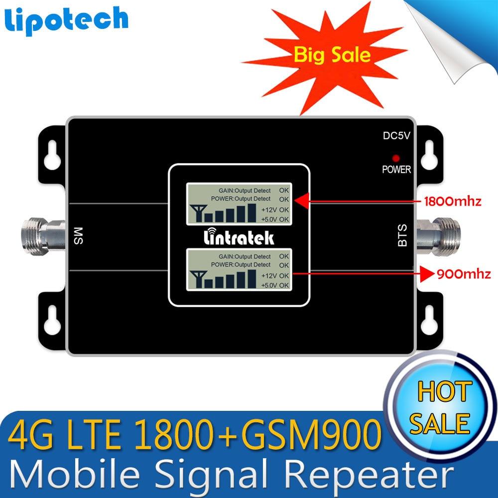 1 шт., двойной ЖК-дисплей, GSM 900, 4G LTE 1800, GSM 1800 МГц, усилитель мобильного сигнала, 65 дБ, двухдиапазонный репитер, усилитель