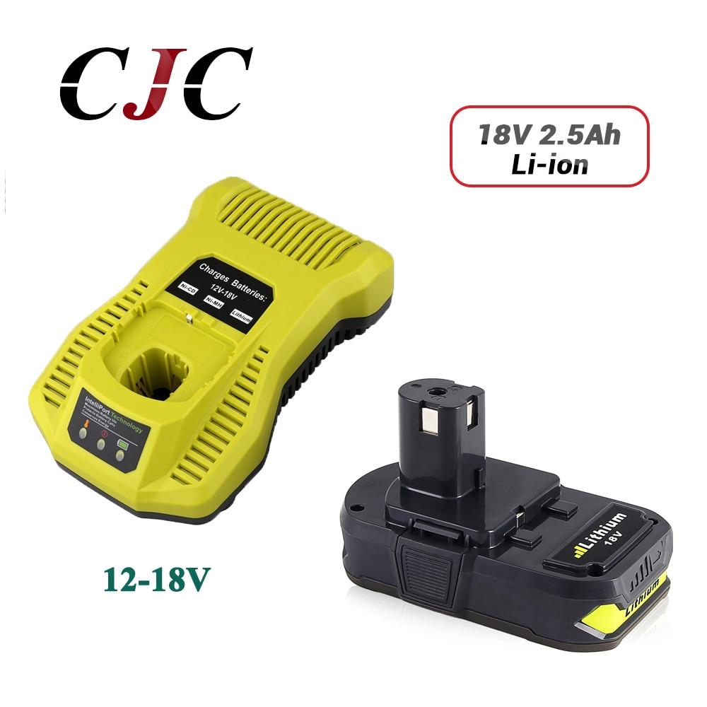 Batería de repuesto de iones de litio de 18V y 2500mAh para Ryobi RB18L25 One Plus para P103 P104 P105 P108 con cargador P117 12-18V