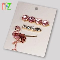 f j4z women luxury hairpins fashion sparkling crystal flamingos hair jewelry faux stone hair clip accessories palillos del pelo