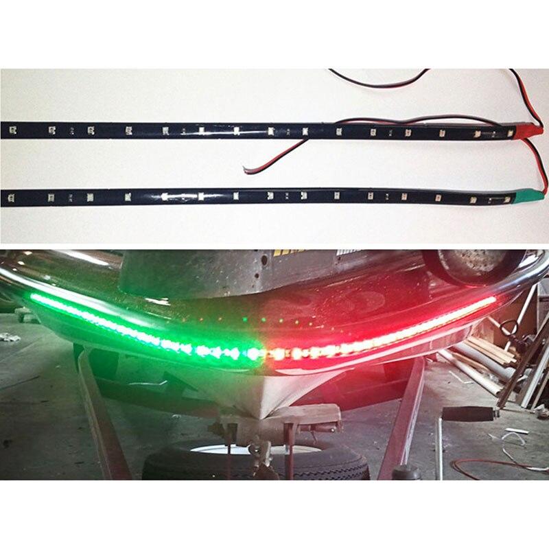 """Juego de 2 unidades de luces LED de navegación de 12 """", rojo y verde, resistente al agua, para coches, barcos marinos, 12 pulgadas, 15 luces LED resistentes al agua"""