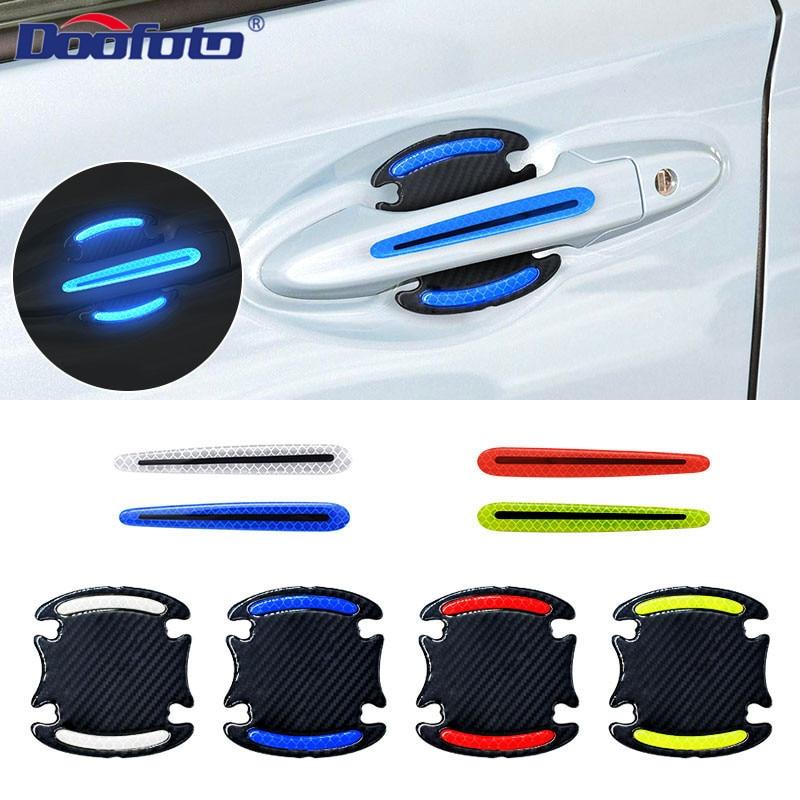 Doofoto 3D Светоотражающая Предупреждение ющая полоса бампера дверная ручка Чаша крышка наклейка отражатель автомобиля внешние аксессуары универсальные наклейки на авто