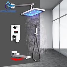 Ensemble de robinets de douche à affichage numérique LCD, pomme de douche en laiton LED, cartouches de robinet et bec de baignoire pivotant à 360 degrés