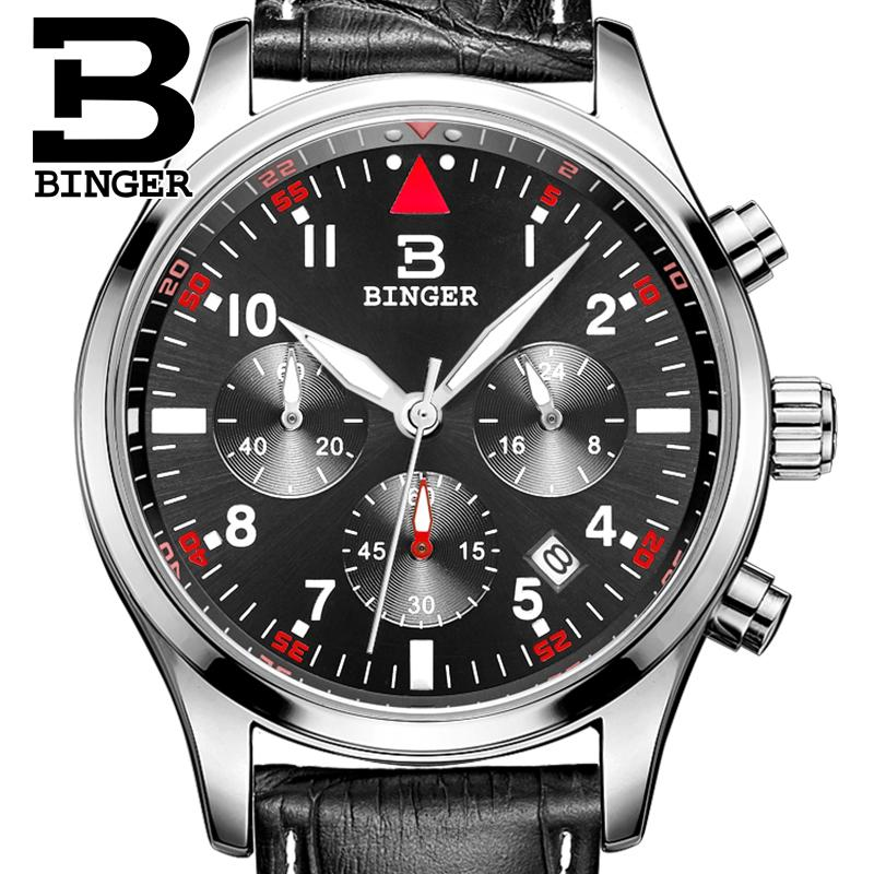 Marca de Luxo Quartzo à Prova Suíça Binger Relógios Masculinos Dwaterproof Água Pulseira Couro Relógio Cronógrafo Parar Pulso B9202-10