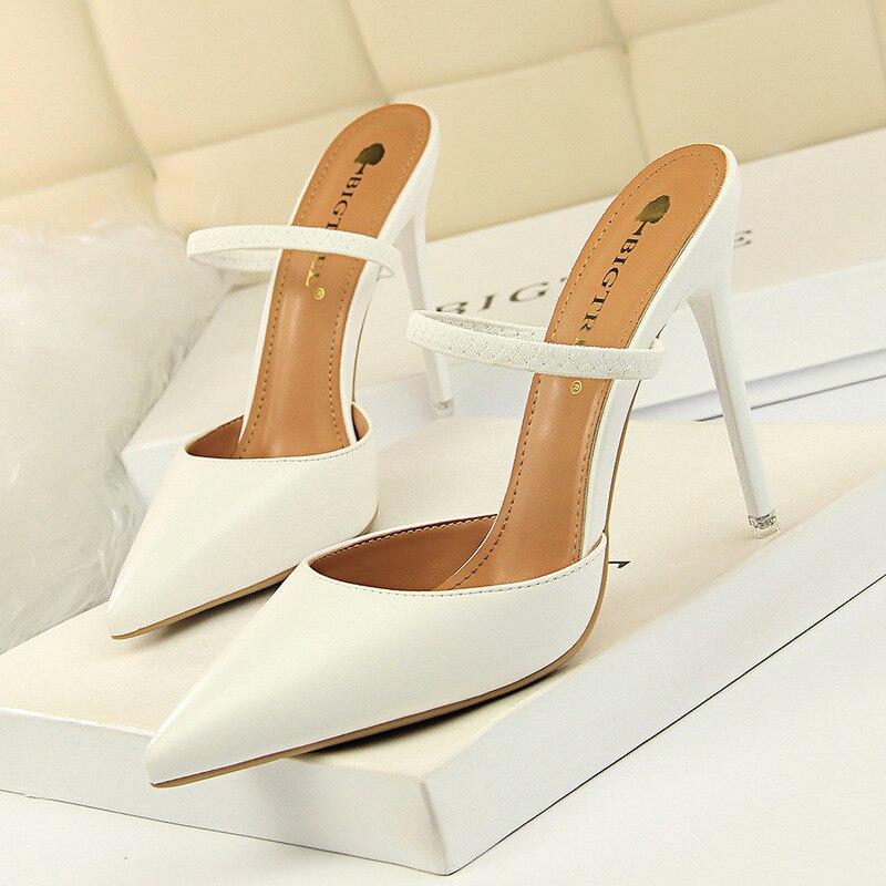 Bigtree sapatos novos sapatos de couro wonen bombas moda sexy apontou oco palavra banda 10.5cm sapatos salto alto sapato feminino
