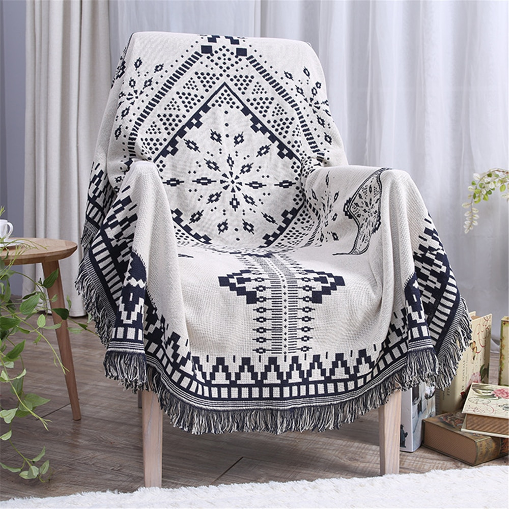 بطانية من خيوط القطن السميكة ، منقوشة بوهيمية وماندالا ، للأريكة أو السرير ، هدية الكريسماس أو رأس السنة الجديدة