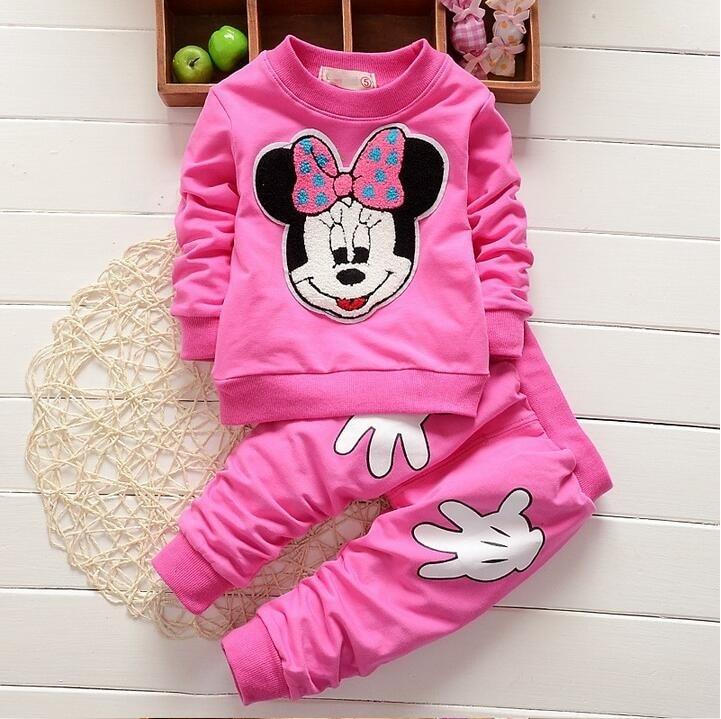 Ropa para niños Minnie, conjuntos de ropa para niñas, ropa de manga larga con bonito bordado de Mickey, pantalones de ocio de dos piezas