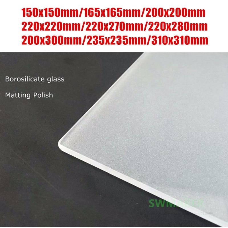 Lixou o Polonês Placa de Vidro Peças da Impressora a Cobertura de Vidro de Borosilicato Geada Lateral Melhor Adesão 3d 165mm 220mm 235mm 310mm Uma