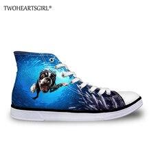 Zapatos de lona Twoheartsgirl Undersea Pug Dog High Top, zapatos vulcanizados de moda para mujer, zapatos con cordones, bonitos zapatos de lona para mujer