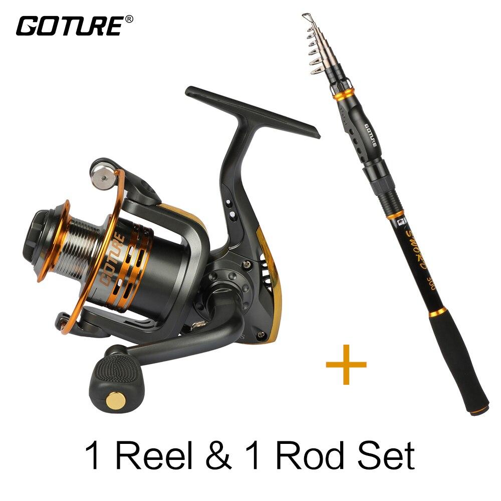 Goture haste combo espada vara de pesca telescópica 2.1-3.6 m + gt3000s molinete 6bb para o verão pesca enfrentar melhor preço bobina haste