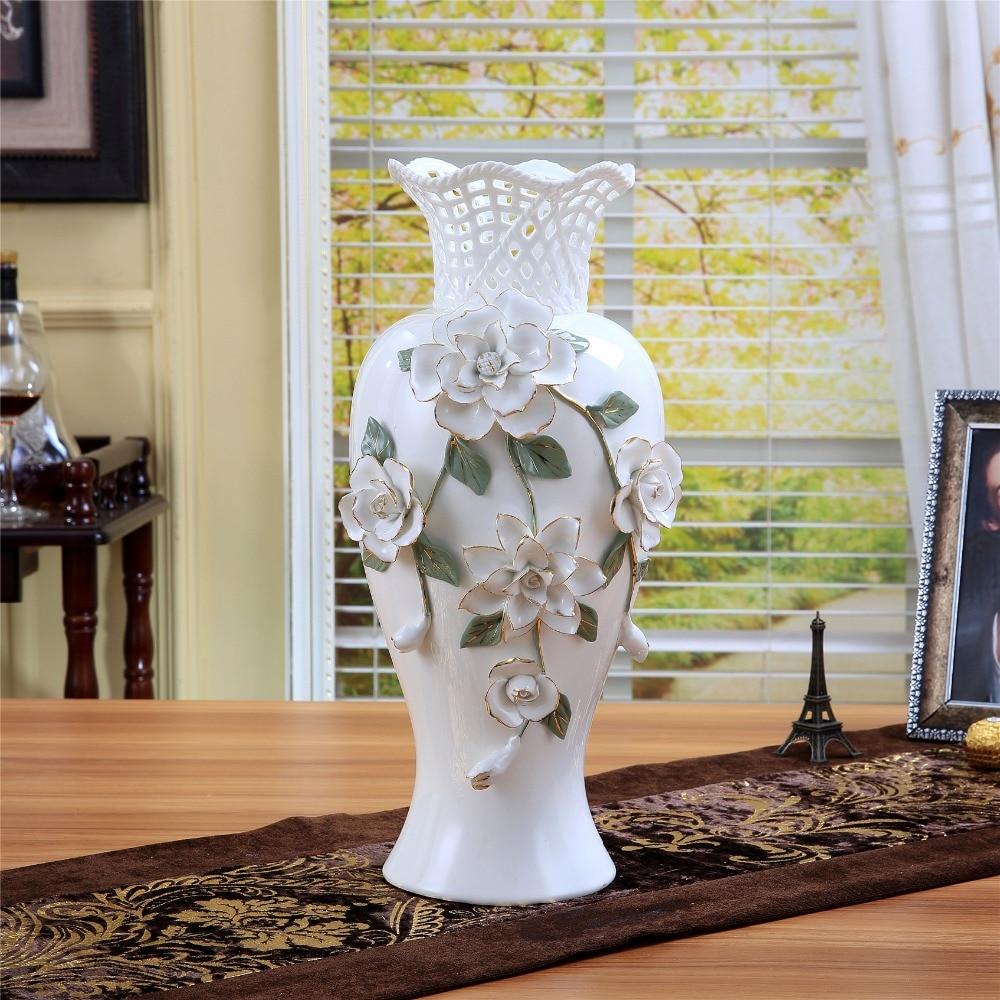 Cerâmica grande branco moderno vaso de flores decoração para casa grandes vasos de assoalho para decoração de casamento cerâmica artesanato estatuetas porcelana