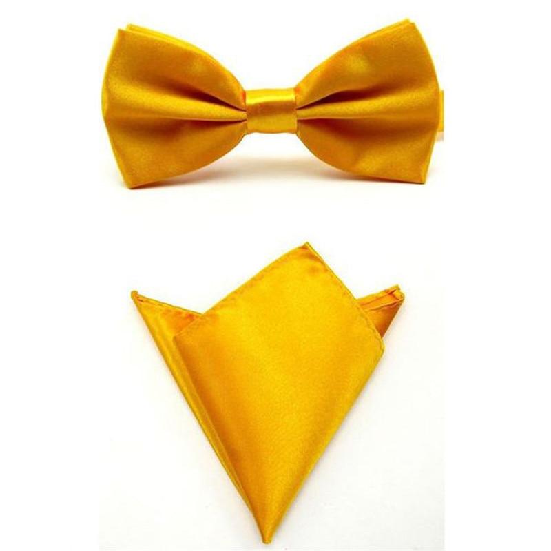 Галстук набор галстуки-бабочки для мужчин карманное квадратное полотенце Mariage желтый золотой полиэстер платок с изображением бабочек