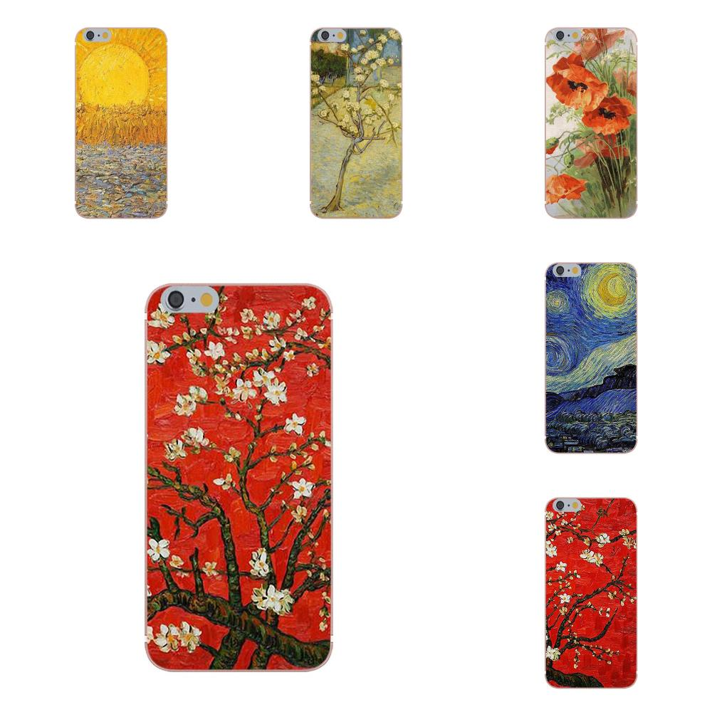 Oedmeb Vincent girasol de Van Gogh Cherry Blossom estrellado Capa de teléfono suave para X de Apple iPhone 4 4S 5 5C 5S SE 6 6S 7 8 Plus